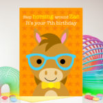 Boys personalised birthday card with name and age