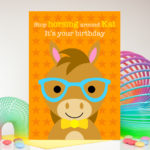 Horse in spectacles boy personalised birthday card