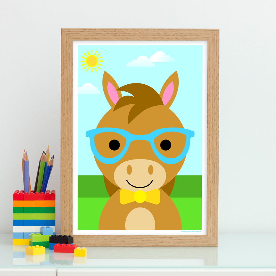 Cute boy horse wearing glasses print gift for kids