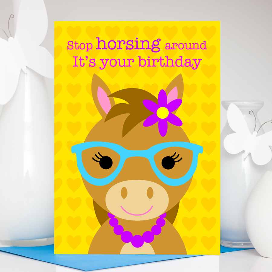 Cute horse wearing glasses birthday card for girls