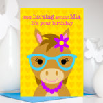 Cow wearing glasses personalised birthday card