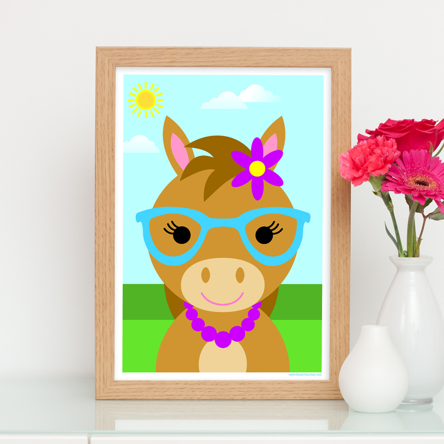 Cute girl horse art print for kids