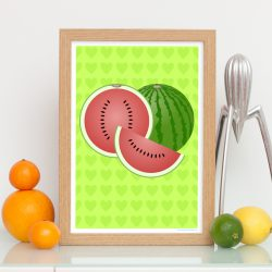 Watermelon art print with heart patterned background