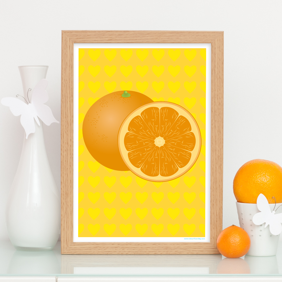 Oranges fruit art print with heart pattern