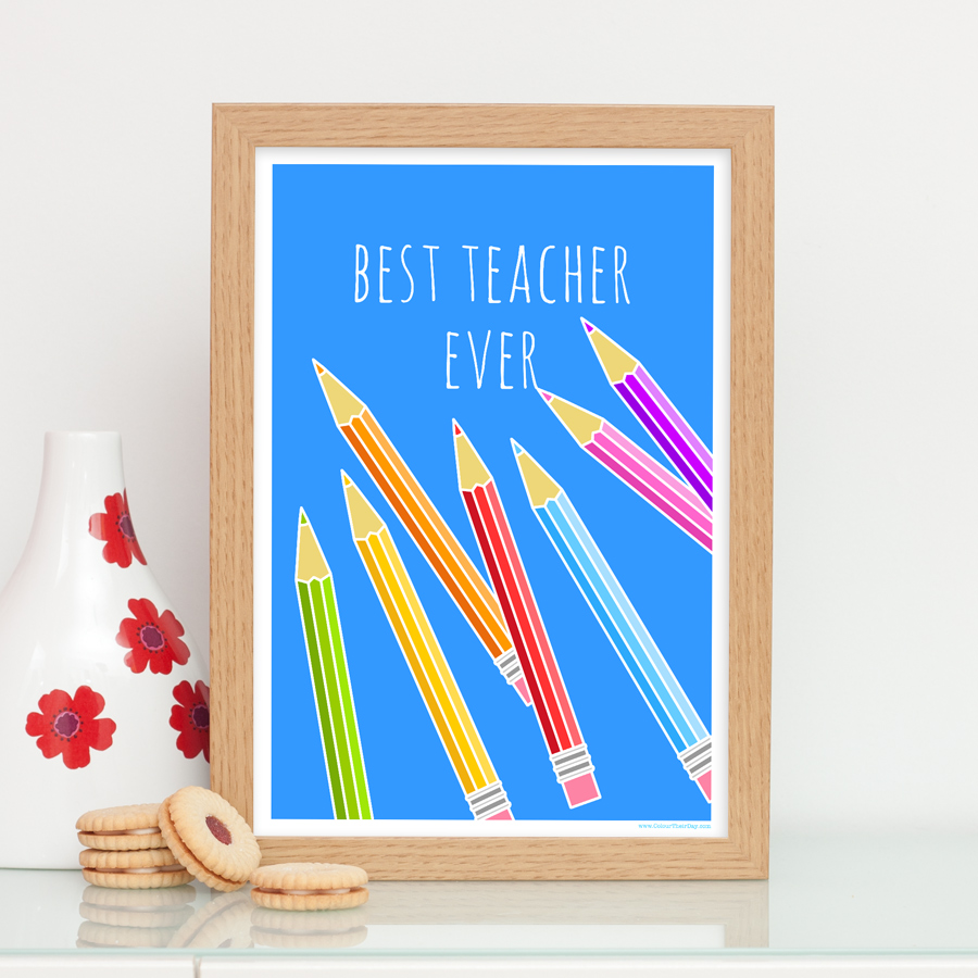 Best teacher ever pencils print gift for teacher