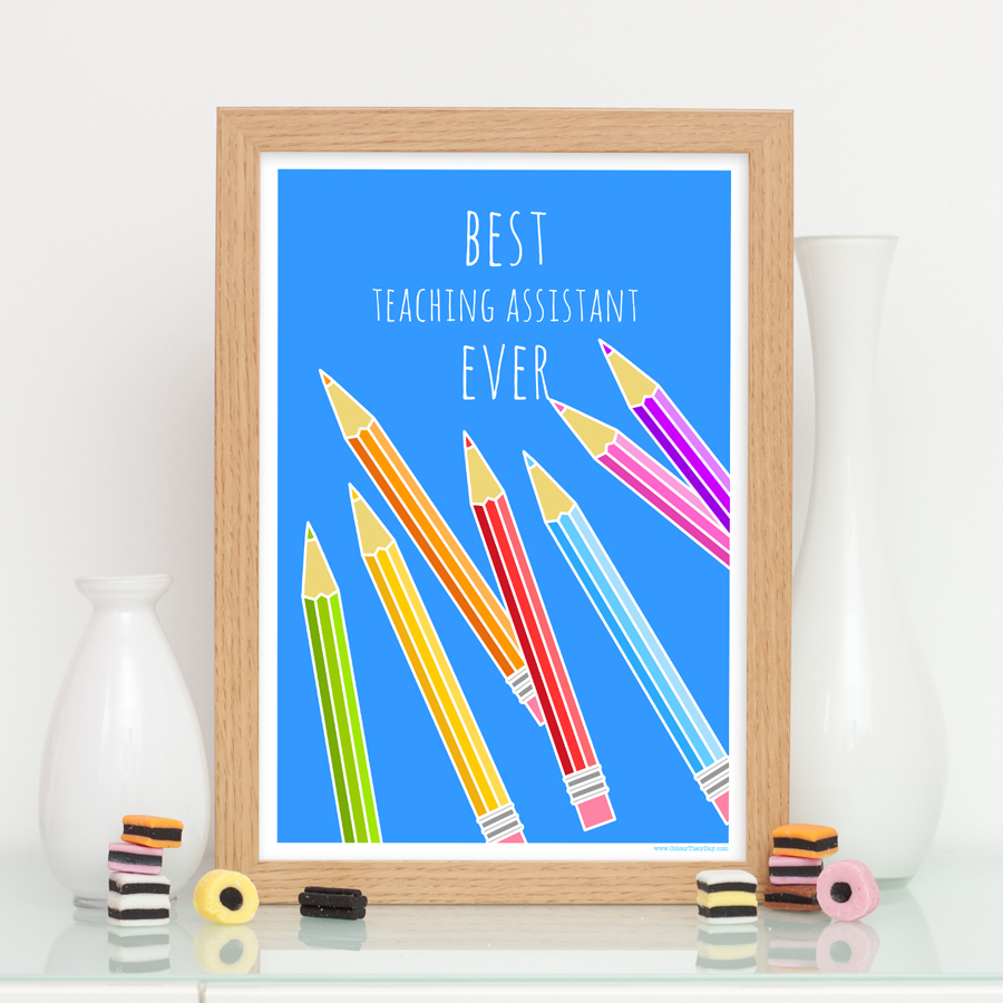 Best teaching assistant ever pencils print