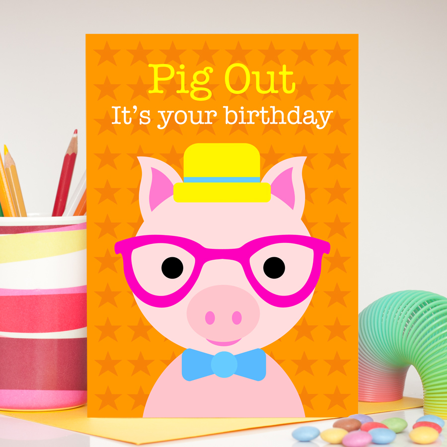 Boy pig birthday card