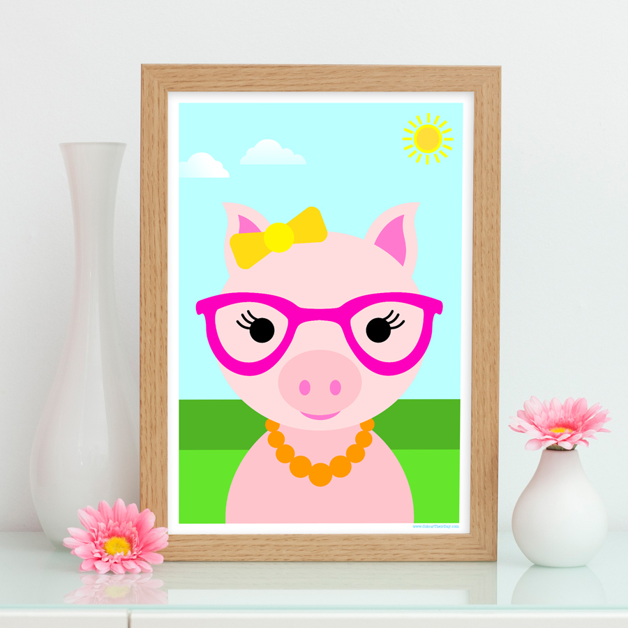 Girl pig art print for kids