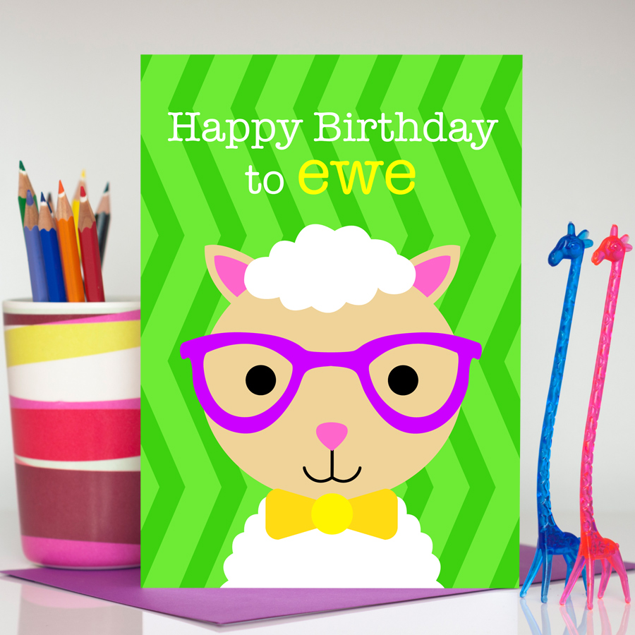 Boy sheep handmade birthday card