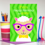 Sheep personalised birthday card for boys