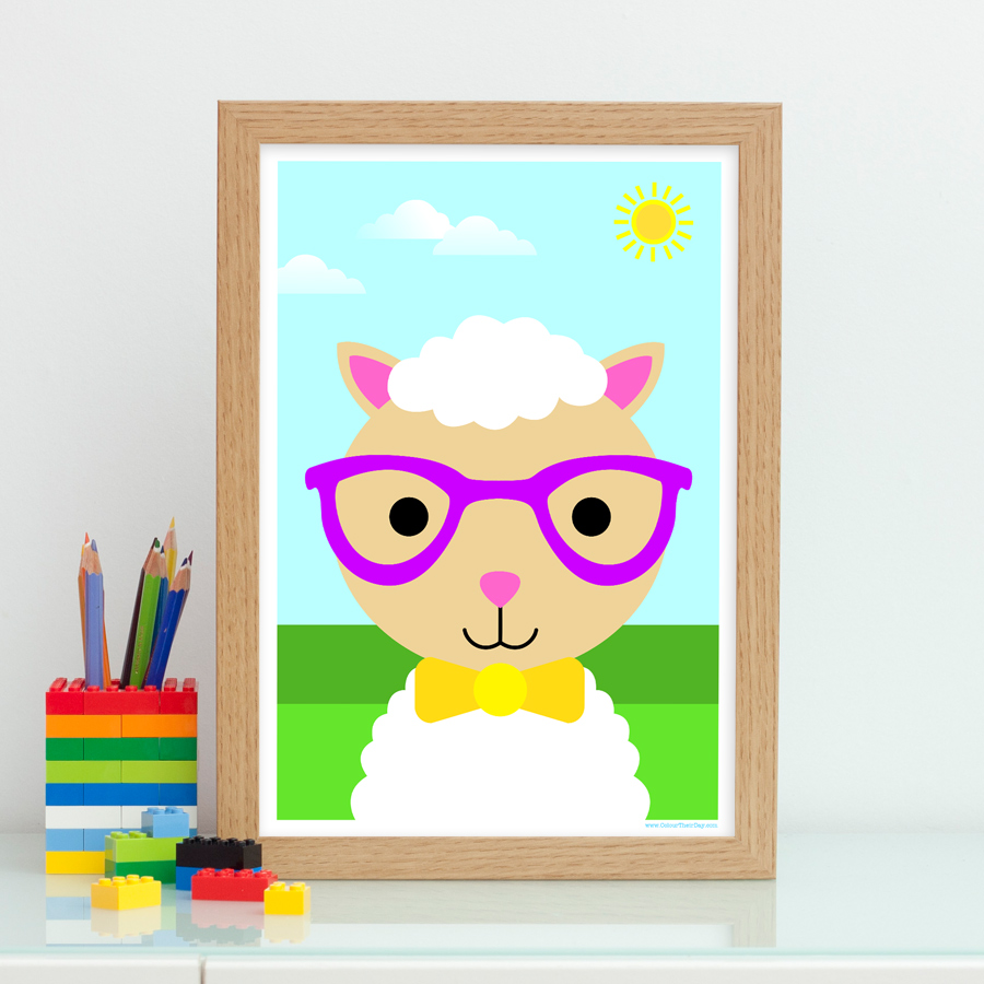 Boy sheep art print for kids