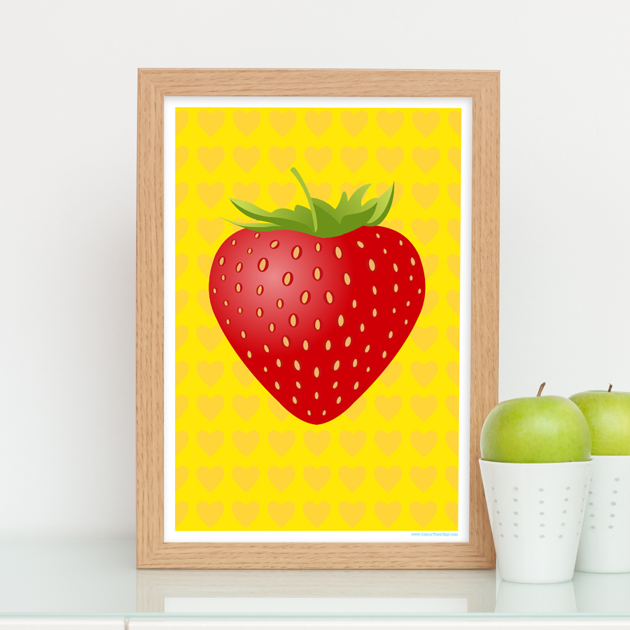 Big red strawberry on yellow heart background
