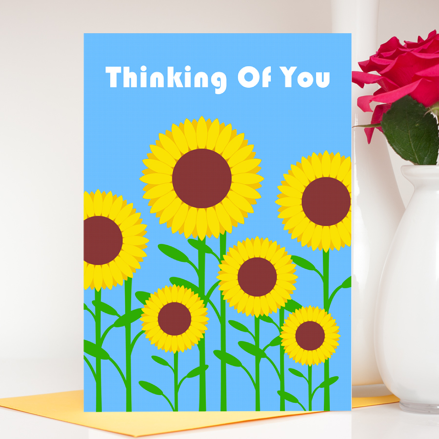 Sunflowers thinking of you greetings card