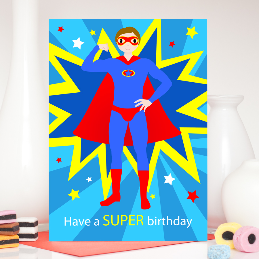 superman  male superhero birthday card  colour their day, Birthday card