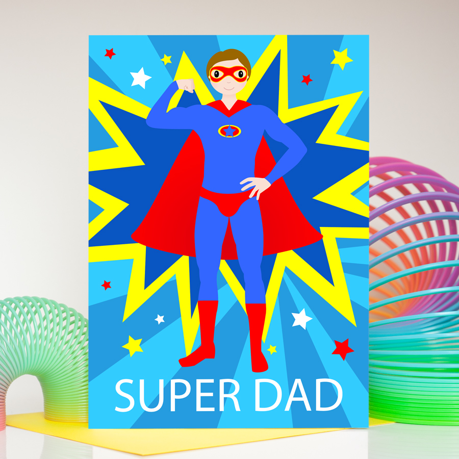 Superdad male superhero birthday card