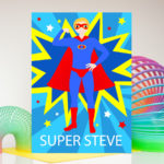 Superhero personalised birthday card father's day any name