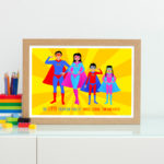Super hero family personalised print