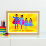 Black superhero family personalised print