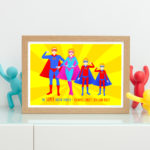 Superhero personalised family print