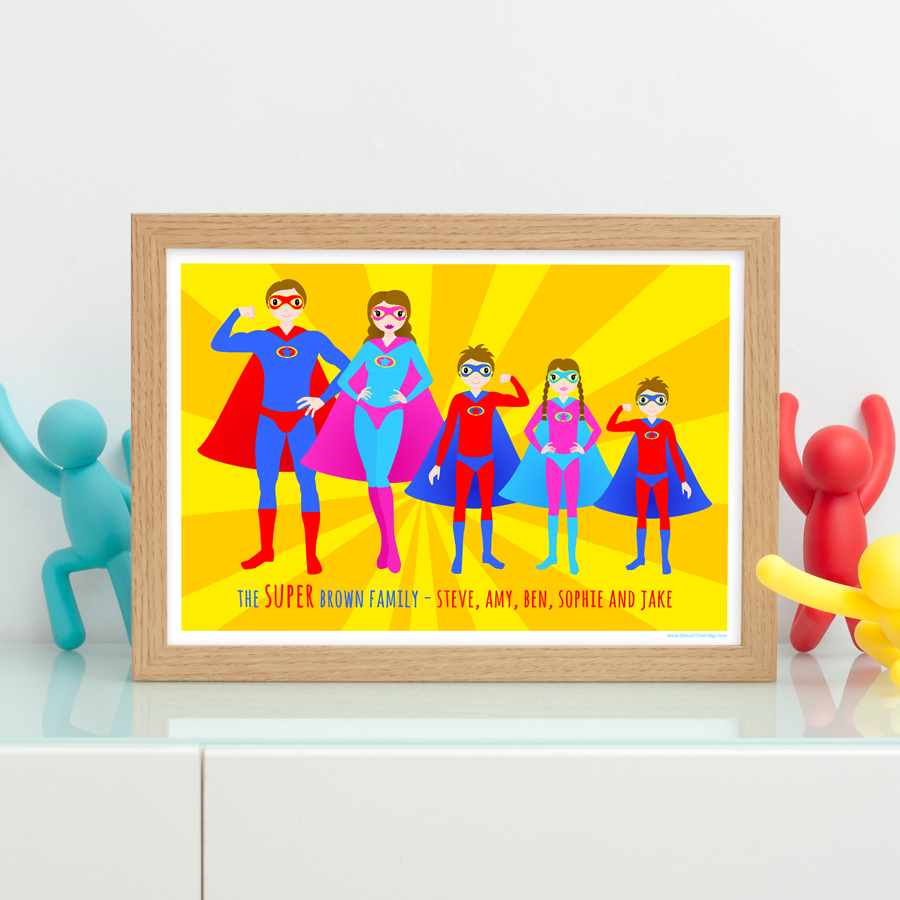 Personalised super hero family print