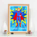 Male superhero personalised print