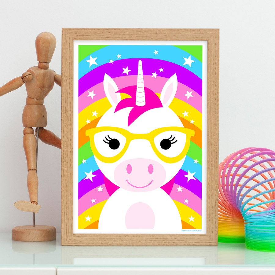 Unicorn kids print rainbow background room decor
