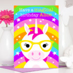 Unicorn handmade personalised birthday card for girls