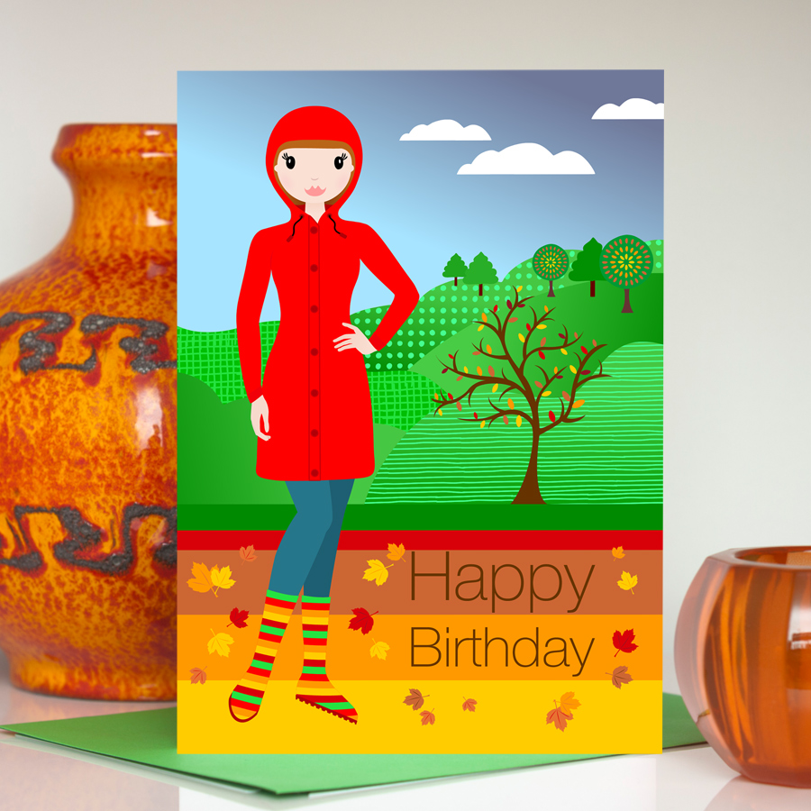 Autumn birthday card for her
