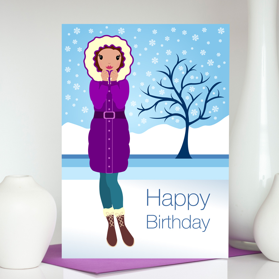 Baby it's cold outside winter inspired birthday card for her